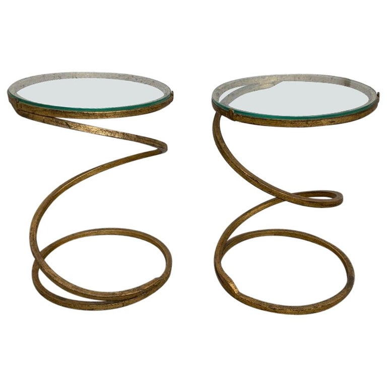 Pair of Midcentury Gilt Iron Glass Topped Spiral Side Tables