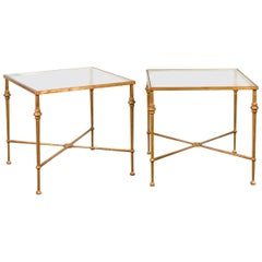 Pair of Midcentury Gilt Iron Side Tables with Glass Tops and Cross Stretchers