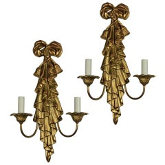 Pair of Midcentury Giltwood Sconces