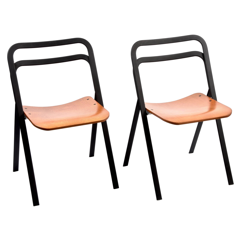 Pair of Midcentury Giorgio Cattelan Italian Folding Chairs for Cidue Italy 1970s