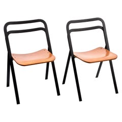Pair of Midcentury Giorgio Cattelan Italian Folding Chairs for Cidue Italy 1970s