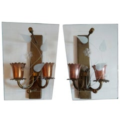 Pair of Midcentury Glass and Copper Wall Sconces Made in Italy