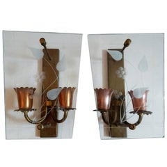 Pair of Midcentury Glass and Copper Wall Sconces, Made in Italy