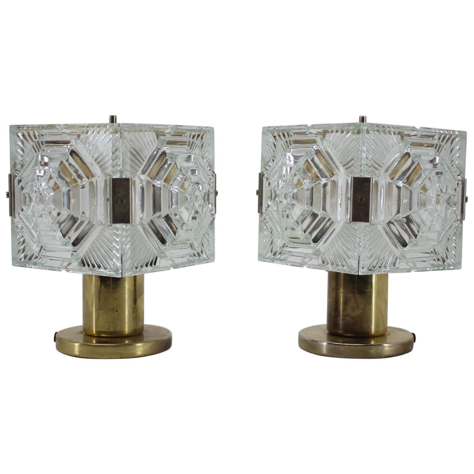 Pair of Midcentury Glass Design Table Lamps, 1970s