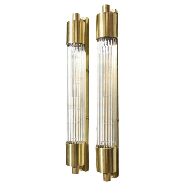 Pair of Midcentury Glass Rod Sconces For Sale