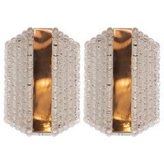 Pair of Midcentury Glass Sconces in Textured Glass by Kaiser Leuchten