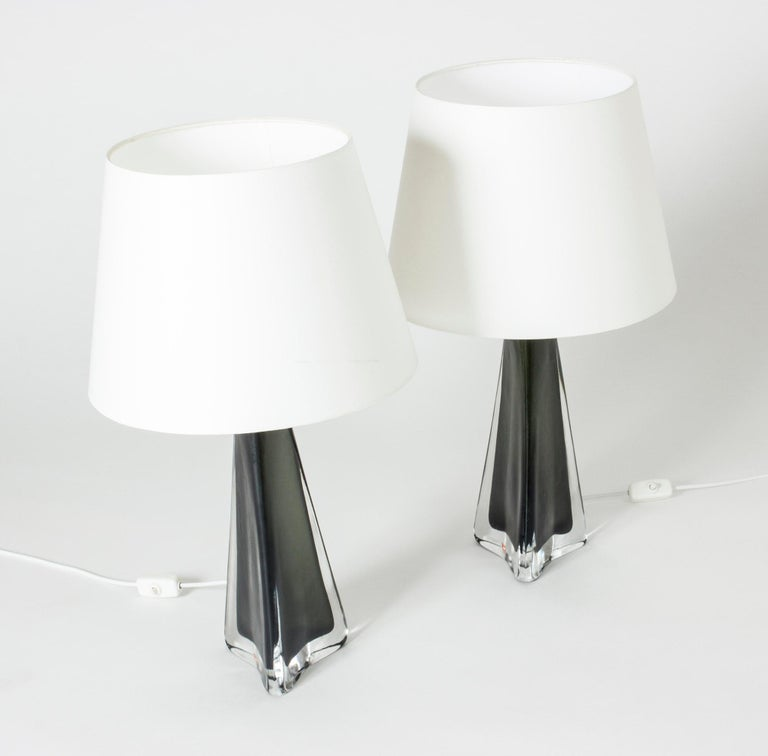 Swedish Pair of Midcentury Glass Table Lamps by Carl Fagerlund For Sale