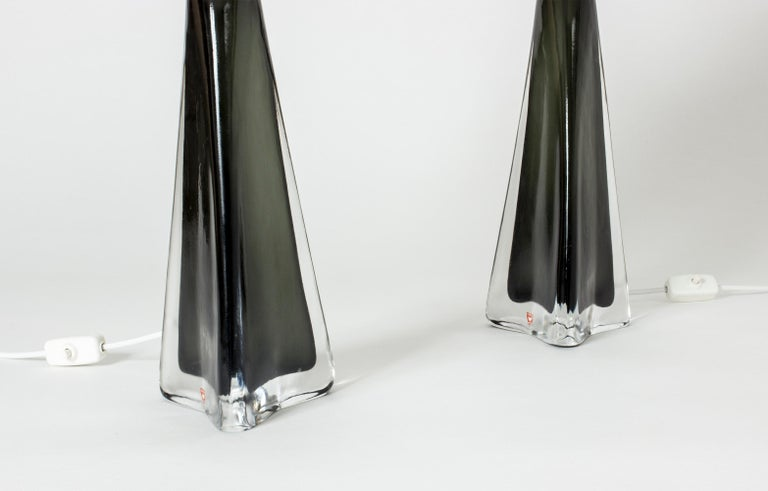 Pair of Midcentury Glass Table Lamps by Carl Fagerlund In Good Condition For Sale In Stockholm, SE
