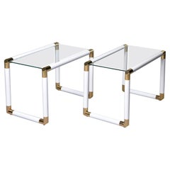 Pair of Midcentury Glass Topped Tables with Brass and White Metal Tubular Frames