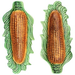 Pair of Midcentury Glazed Ceramic Corn on the Cob Dishes, Portugal, 1960s