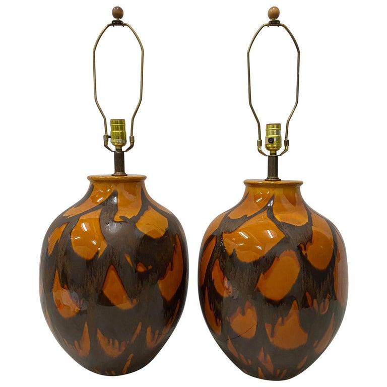Pair of Midcentury Glazed Ceramic Lamps, circa 1970s For Sale