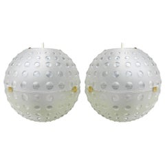 Pair of Midcentury Globe Pendant Lights Opaque Molded Plastic, circa 1960