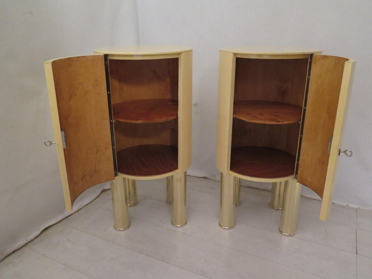 Pair of Midcentury Goat Skin and Brass Italian Nightstands, 1950 For Sale 6