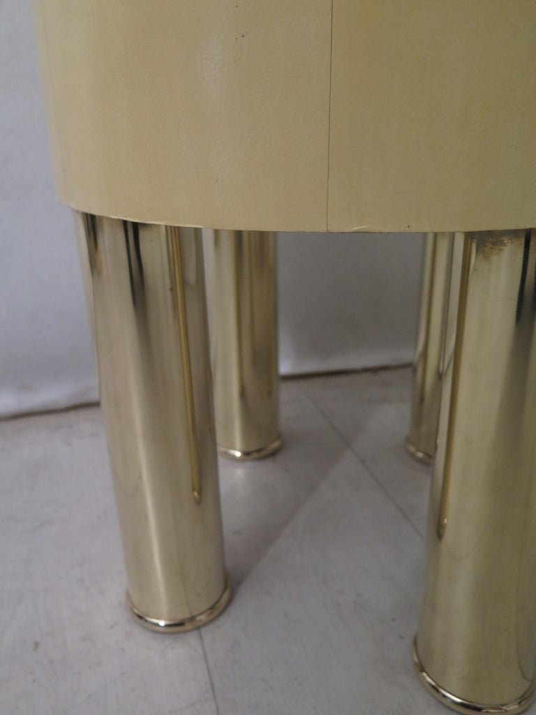 Pair of Midcentury Goat Skin and Brass Italian Nightstands, 1950 For Sale 10