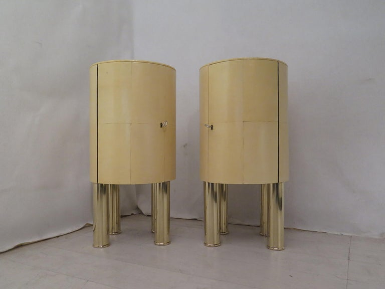 Mid-Century Modern Pair of Midcentury Goat Skin and Brass Italian Nightstands, 1950 For Sale