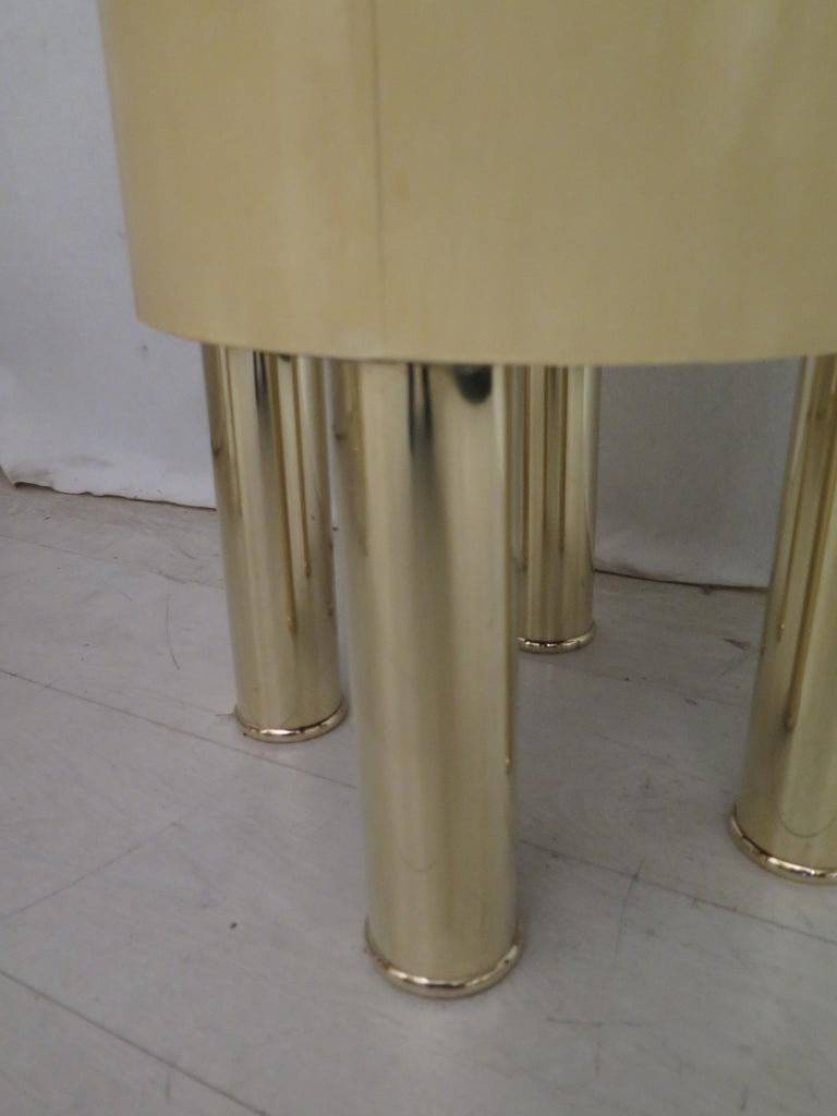 Pair of Midcentury Goat Skin and Brass Italian Nightstands, 1950 For Sale 4