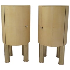 Pair of Midcentury Goat Skin and Brass Italian Nightstands, 1950