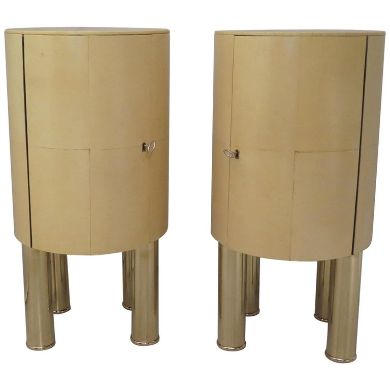 Pair of Midcentury Goat Skin and Brass Italian Nightstands, 1950 For Sale