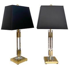 Pair of Midcentury Gold and Chrome Table Lamps by Willy Rizzo, circa 1970