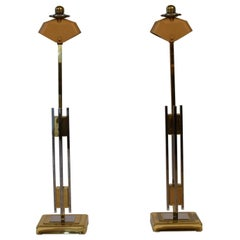 Pair of Midcentury Gold and Chrome Table Lamps by Willy Rizzo