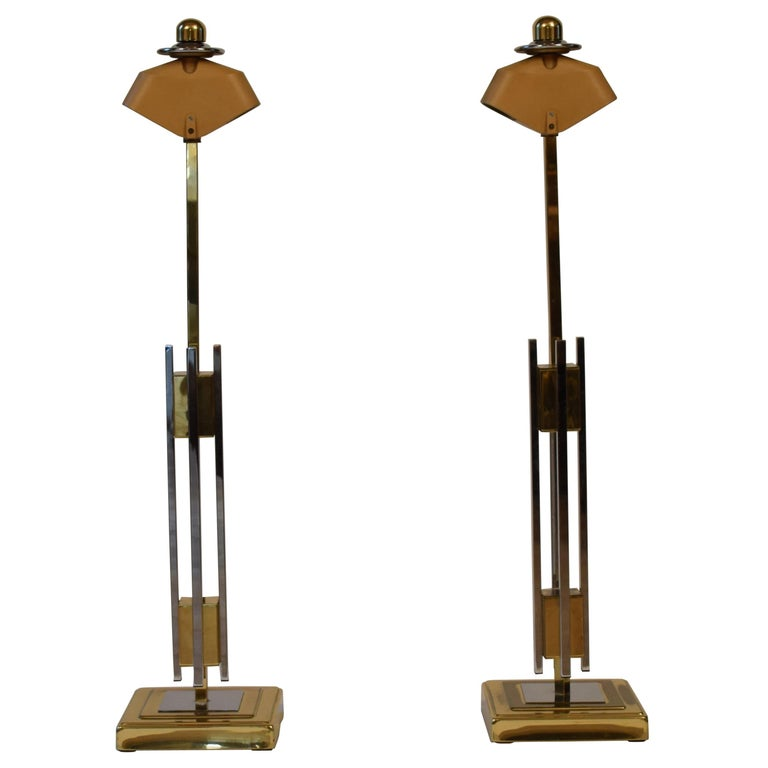 Pair of Midcentury Gold and Chrome Table Lamps by Willy Rizzo For Sale