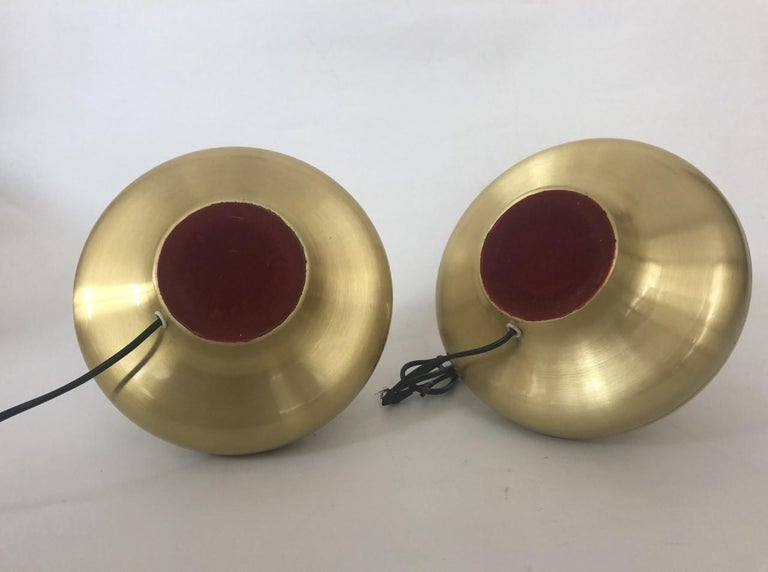 Pair of Midcentury Gold Brass Spanish Table Lamps, 1970s In Good Condition For Sale In Badajoz, Badajoz
