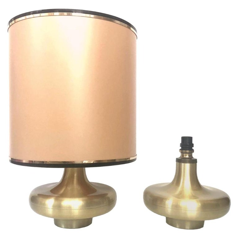 Pair of Midcentury Gold Brass Spanish Table Lamps, 1970s For Sale