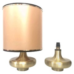 Pair of Midcentury Gold Brass Spanish Table Lamps, 1970s