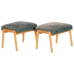 Pair of Midcentury Green Beech Stools, 1960s, Original Preserved Condition