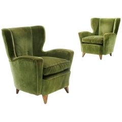 Pair of Midcentury Green Velvet Italian Armchairs, 1950s