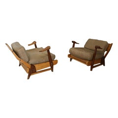 Pair of Midcentury Guillerme et Chambron France Armchairs, from 1950