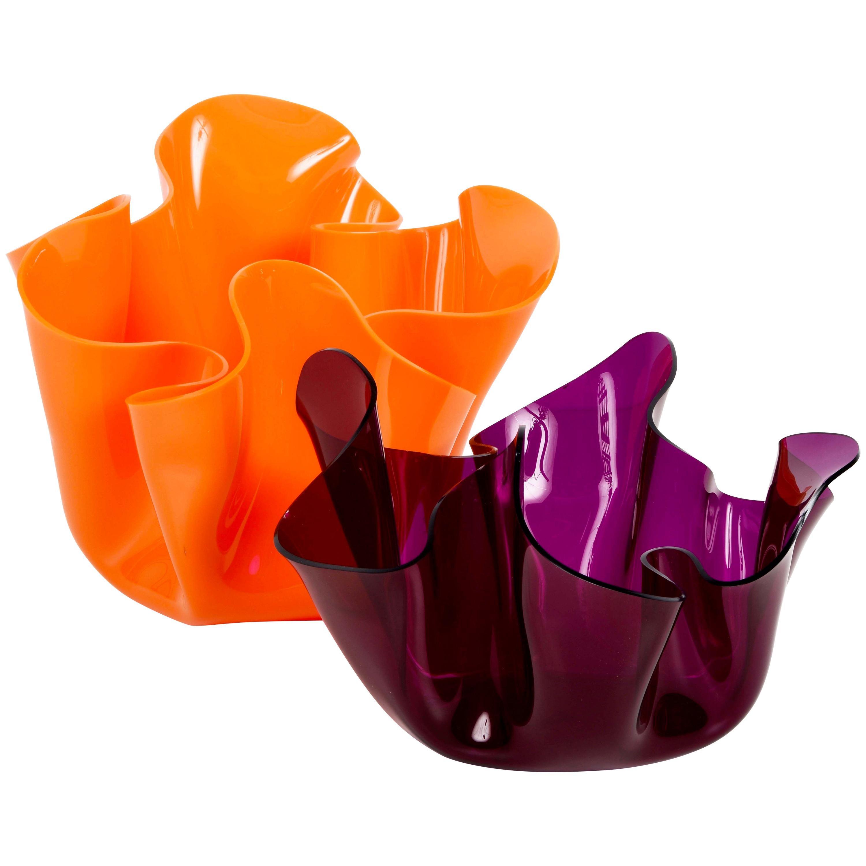 Pair of Midcentury Guzzini Orange and Violet Plexiglass Lucite Centerpieces