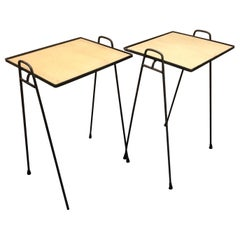 Pair of Midcentury Hairpin Stacking TV Tray Tables