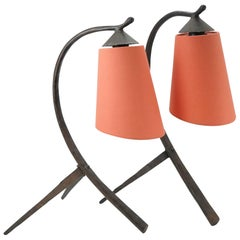 Pair of Midcentury Hammered Wrought Iron Table Lamp with Coral Lampshade, 1970
