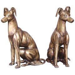 Pair of Midcentury Hand Cast Bronze Decorative Sitting Dogs