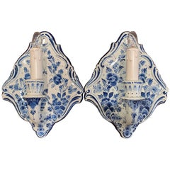 Pair of Midcentury Hand Painted Faience Delft Wall Sconces