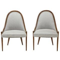Pair of Midcentury Harvey Prober Upholstered Slipper Chairs