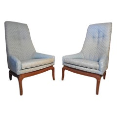 Pair of Midcentury High-Back Chairs after Pearsall