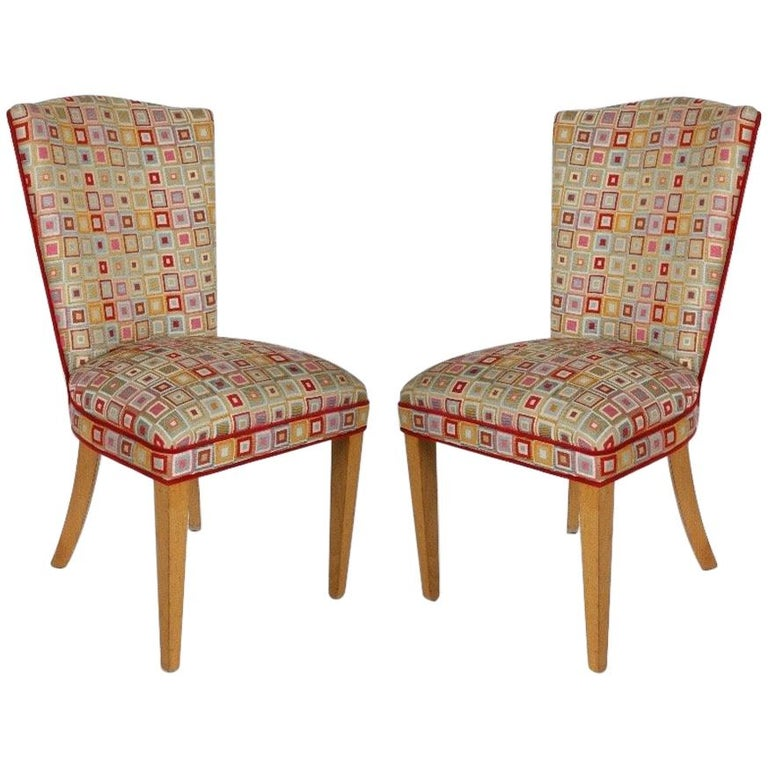 Pair of Midcentury High Back Dining or Occasional Chairs For Sale