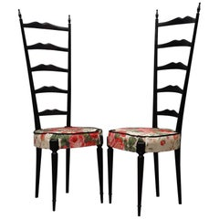 Pair of Midcentury High Back Ladder Flowery Fabric Italian Chiavari Chairs, 1950