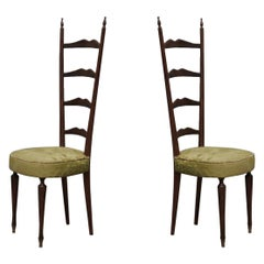 Midcentury High Back Ladder Green Velvet Italian Chiavari Chairs, 1950