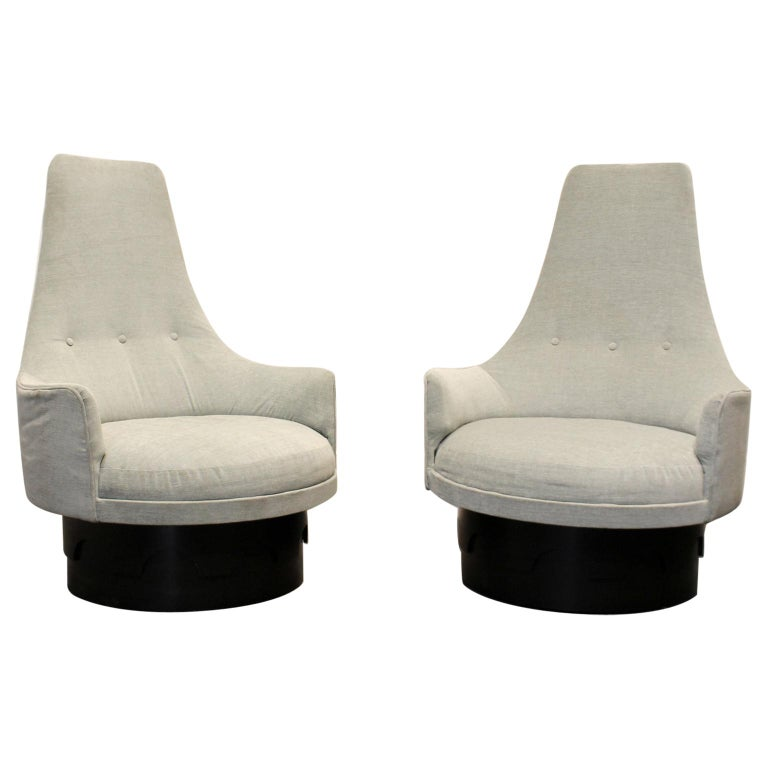 Wondrous Pair Of Midcentury High Back Swivel Lounge Chairs By Adrian Pearsall Camellatalisay Diy Chair Ideas Camellatalisaycom