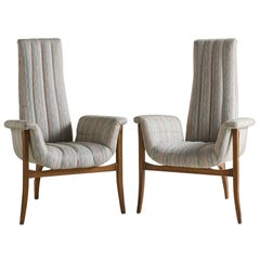 Pair of Midcentury High Backed Tri Legged Chair