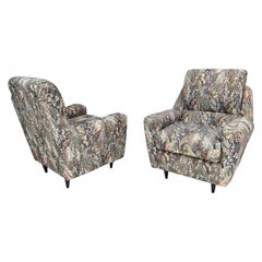 Pair of Midcentury High-Quality Patterned Fabric Armchairs, Italy
