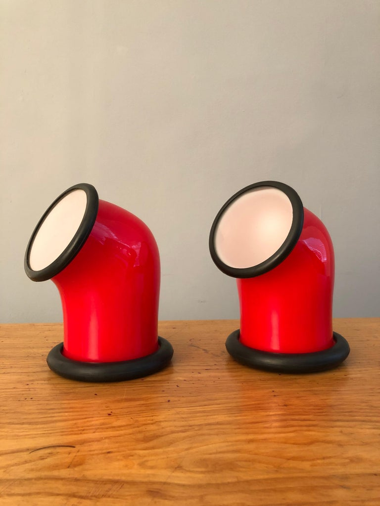 Danish Pair of Midcentury Holmegaard Lamps by Michael Bang, 1972 For Sale