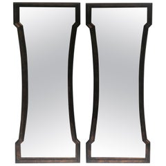 Pair of Mid Century Hour Glass Mirrors attributed to Weiman