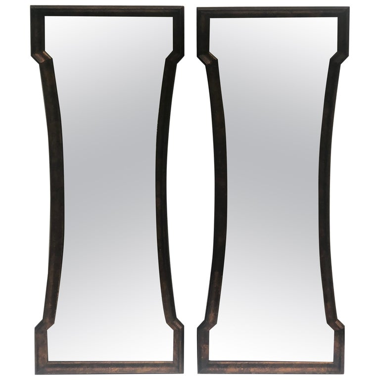 Pair of Mid Century Hour Glass Mirrors attributed to Weiman For Sale