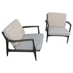 Pair of Mid Century Modern Ib Kofod Larsen Danish Lounge Chairs for Selig