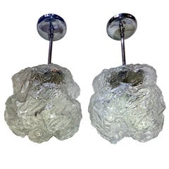 Pair of Midcentury Ice Glass Pendants, Sold Individually