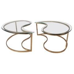 Pair of Midcentury Interlocking Glass Top Side Tables